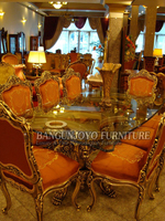 Luxury Style Elegant Solid Wood Gold Plated Dining Room Furniture Set With Matching Dining