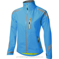 Shiny blue outdoor women waterproof breathable cycling rain jacket