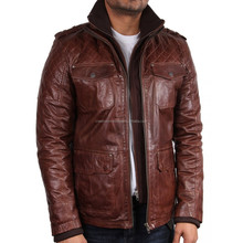 dark brown leather with brand name fashion leather jackets/Pakistan leather jacket for men
