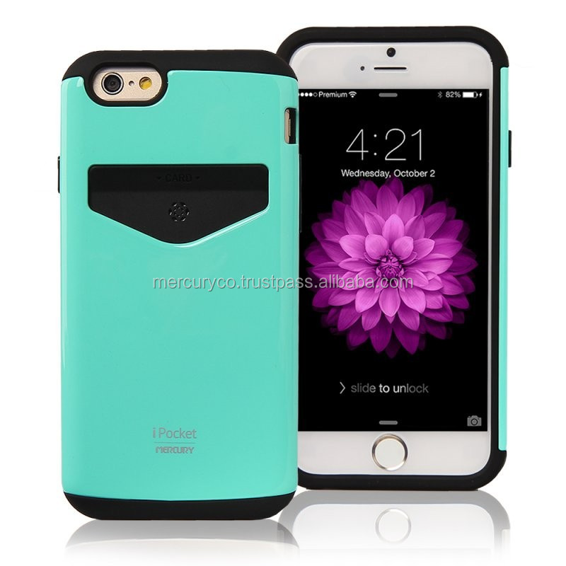 Mercury iPocket Bumper (Mint) card holder case for mobile phone