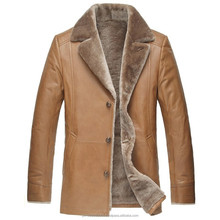 Men's Slim Lamb Fur Lined Cowhide Leather Trench Coat