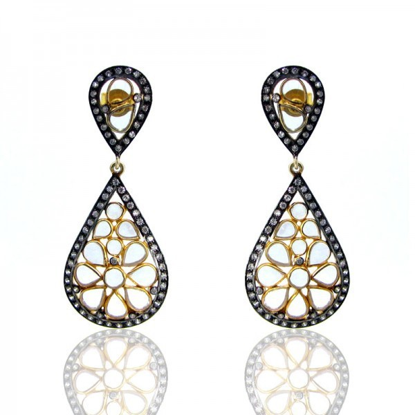 Pear Flower Design Diamond White Silver Earrings