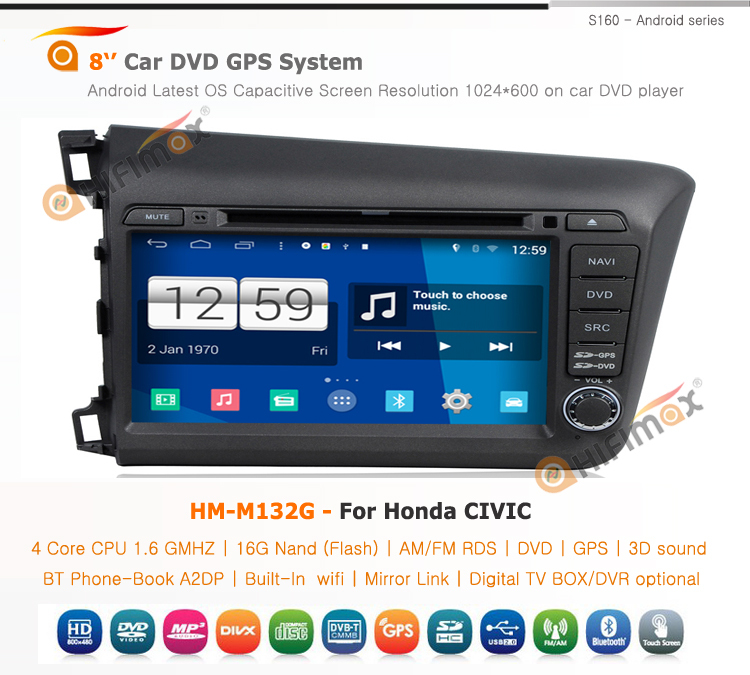 HIFIMAX Android 4.4 car dvd player for Honda CIVIC Left Hand Drive 2012 WITH Capacitive screen 1080P 8G ROM WIFI 3G INTERNET DVR