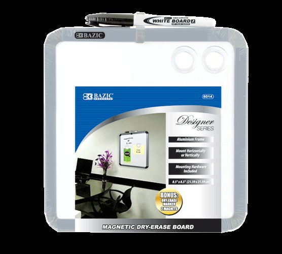 "BAZIC 8.5"" X 8.5"" Magnetic Dry Erase Board w/ Marker & 2 Magnets"