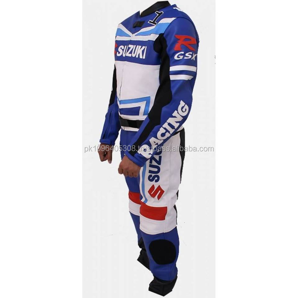 Motorbike Racing Leather Perforated Suit in Cow Hide Suzuki