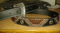 Western Cowboy/girl Belt Tooling / Tooled Brown Antique Colour On American Cow Leather, star Concho