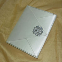 wedding silk invitation Card box with Rhinestone Brooch Indian print inserts