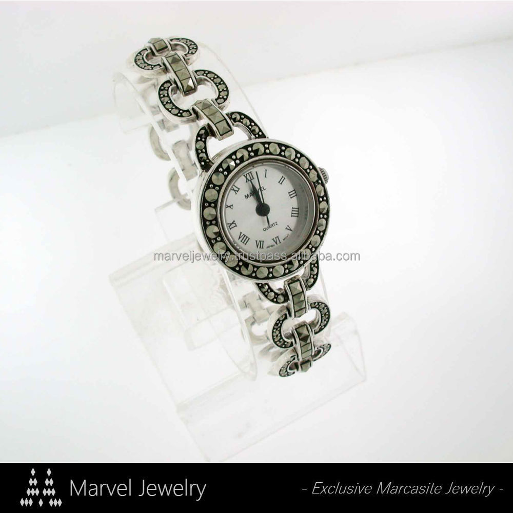 Lady Swiss Marcasite Watch Antique 925 Sterling Silver