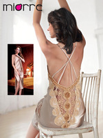 MIORRE SATIN LONG LINGERIE WITH LACE AND STIRING SET , BABYDOLL ,NIGHTGOWN