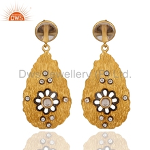 Trendy Gold Plated 925 Silver Earring Crystal & White Topaz Gemstone Earrings Manufacturer of Natural Gemstone Jewelry Supplier