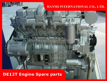 GENUINE DOOSAN DAEWOO DE12T / DE12TIS ENGINE SPARE PARTS (PISTON, CYLINDER, BEARING, GASKET etc)