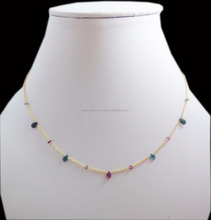Lovely 925 silver Chain Multi Tourmaline pear and Round Natural Gemstone Beads Necklaces