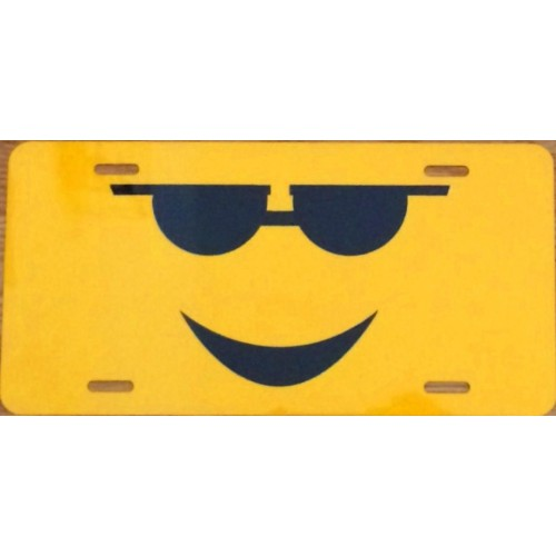 Smiley Face with Sun Shades Photo Metal License Plate - discounts available, click on picture to view
