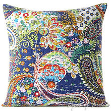 INDIAN FLORAL Kantha EMBROIDERED PILLOW CUSHION COVER Decorative Vintage Throw 16""