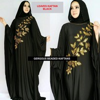 Beautiful Beaded Leaves Kaftan Black Abaya