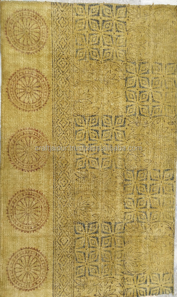 New Stone Wash Cotton Hand Block Printed Rugs Multi Colour Dye Killim Design Indian Culture Wholesale Rug Manufacturer