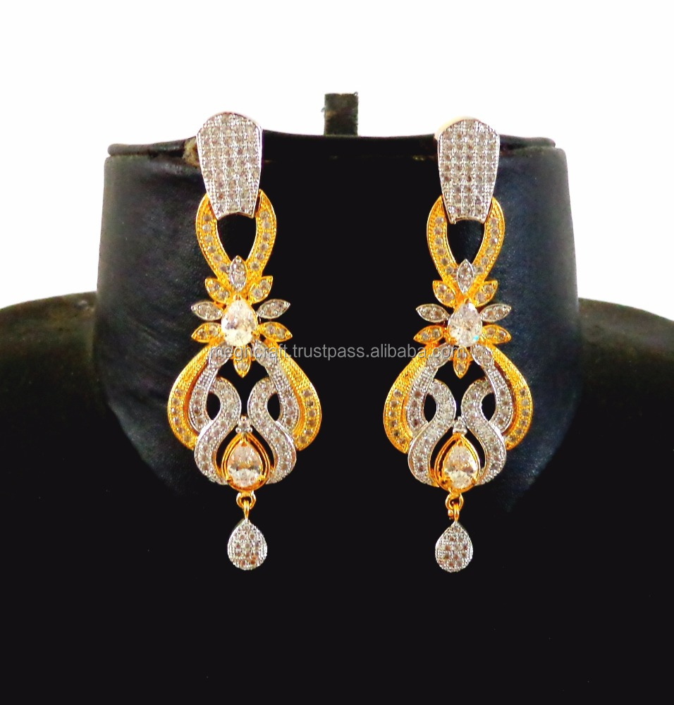 Bollywood Fashion CZ Two tone gold plated earring-Wholesale American diamond Dangle earring-Designer Indian Ethnic earring