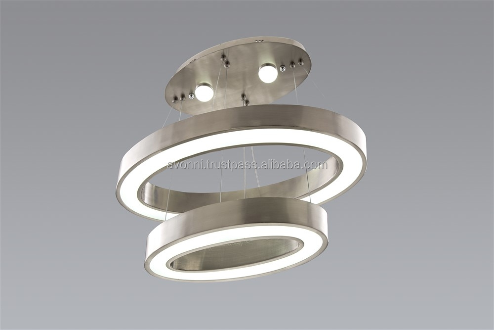 AVONNI LED Metal Nickel Ring Chandelier