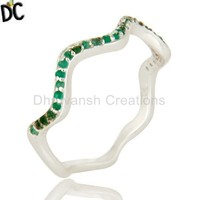 Stylish 925 Sterling Silver Ring Emerald Gemstone Fashion Ring Wholesale Indian Designer Jewelry