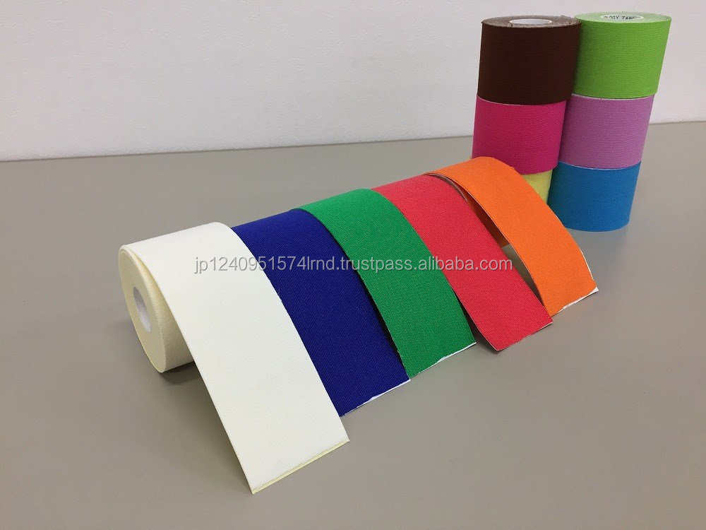 Various colors of self adhesive bandage taping fabric great for joints