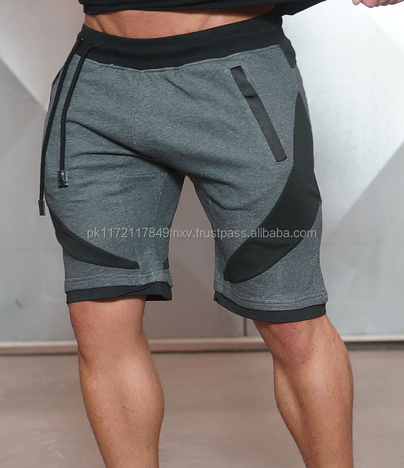 Terry cotton fleece with mesh relaxed fit and breathable men fitness sweatshorts