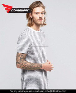 Wholesale OEM Men 100% Cotton Long Sleeve Striped Two Tone T shirts