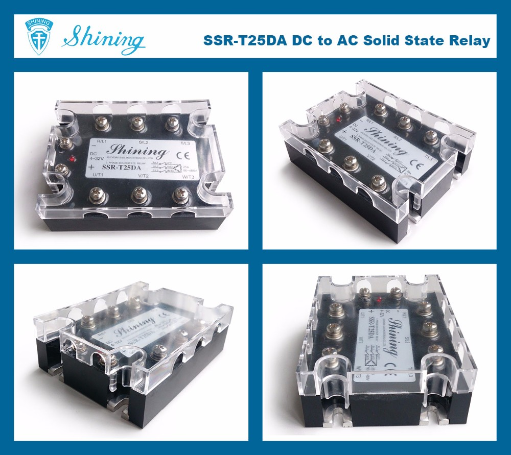 SSR-T25DA CE Approved DC To AC 3 Phase 25A Solid State Relay