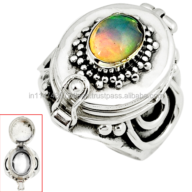 925 silver natural multi color ethiopian opal poison box ring h71714