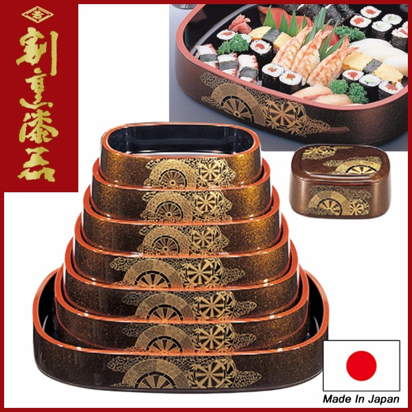 "Japanese Sushi Container for Restaurant use Lacquerware / Oval D.X ""ox-drawn carriage"" design"