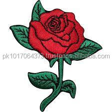 Red Rose with leaves Embroidery Patches Custom Patches Sew on Embroidery Patches Iron on Laser Cut Border MIEP- 786363