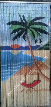 Bamboo bead curtain 100% hand made and hand painted
