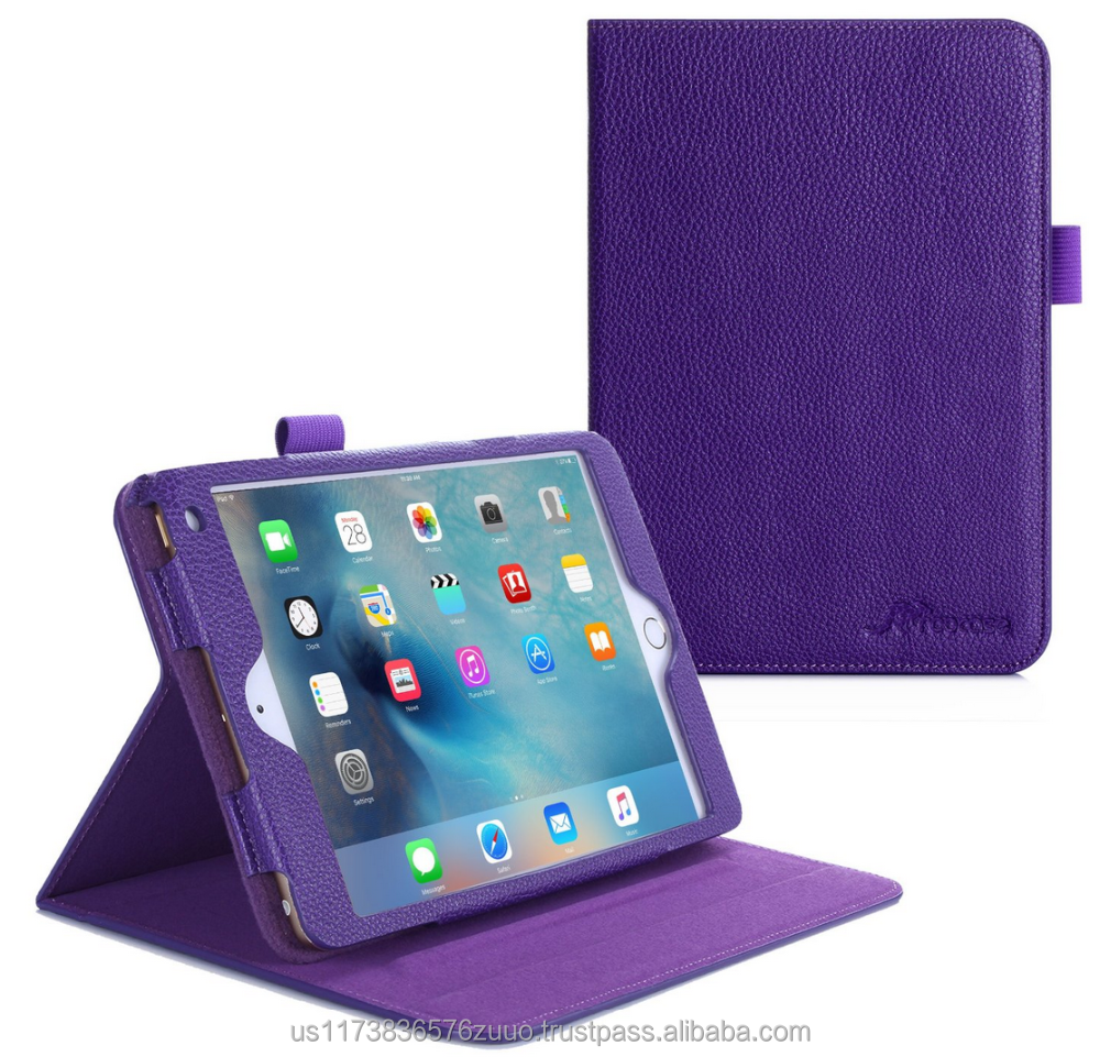 Dual View Slim Fit Premium PU Leather Folio Case, Smart Cover Auto Sleep/Wake; inner sleeve for iPad Mini 4 roocase (purple)