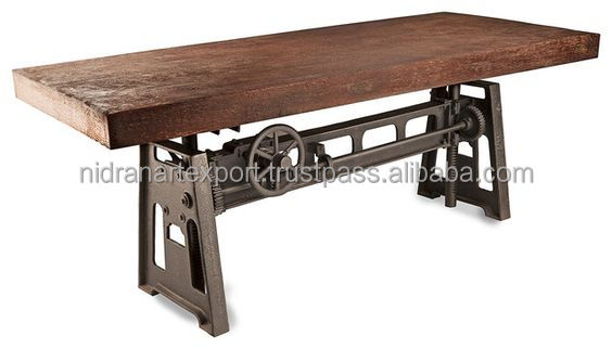 industrial & vintage cast iron metal crank dining table with solid wood top