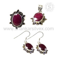 Wholesale Order Natural Gemstone Silver Jewelry Ruby Set 925 Silver Jewelry Manufacturing