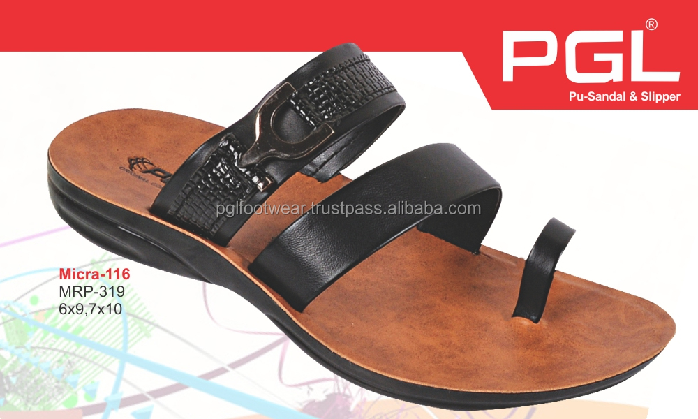 PU leather buckle men slippers flip flop sandals and shoes