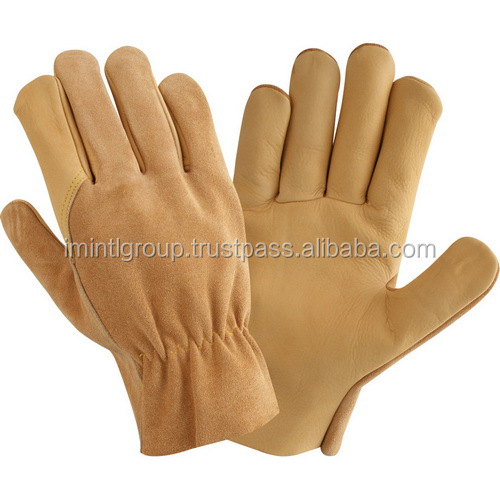 Natural Cow Grain Leather Driver Driving Gloves quality factory manufacturer 1748