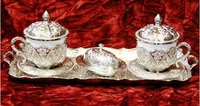 0923369 Turkish Coffee Espresso Cup & Saucer , silver and porcelain sets