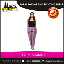 Popular in Demand Soft Fabric Rayon Printed Pajamas at Low Price