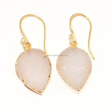 Zeva Designer Pink Natural Druzy Stone Gold Plated danglers Earring 40x15 mm, Fashion Design Jewelry Wholesale Price India
