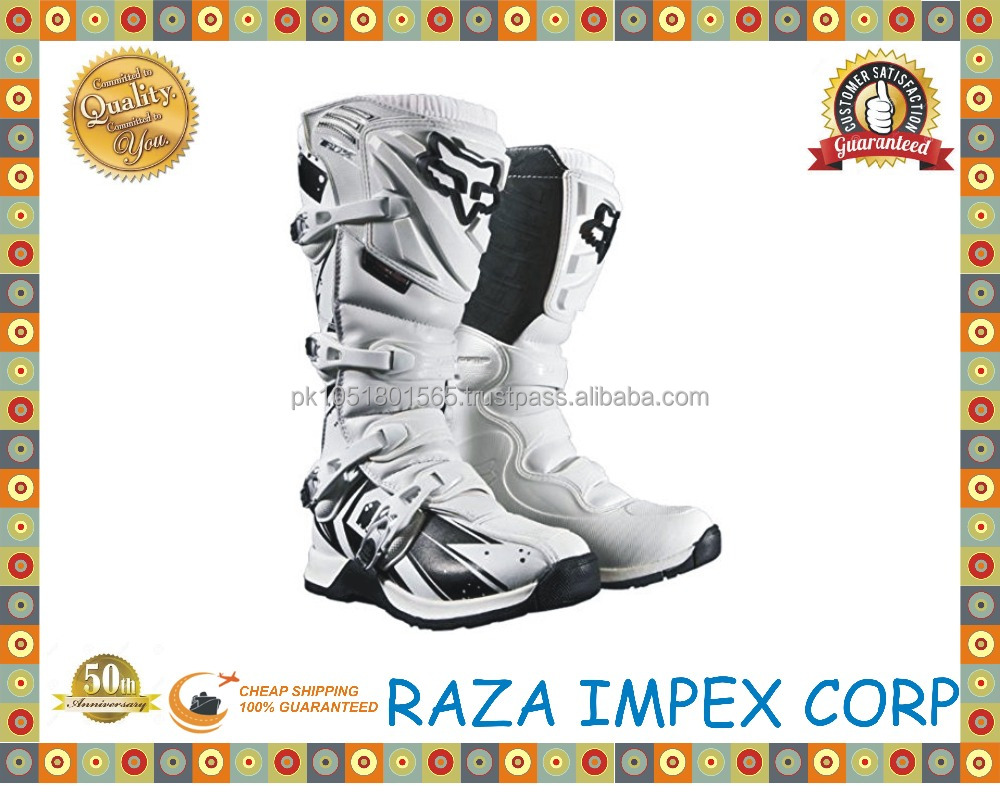 Stylish Cool white, Black Leather Safety Motorcycle Boots For Men