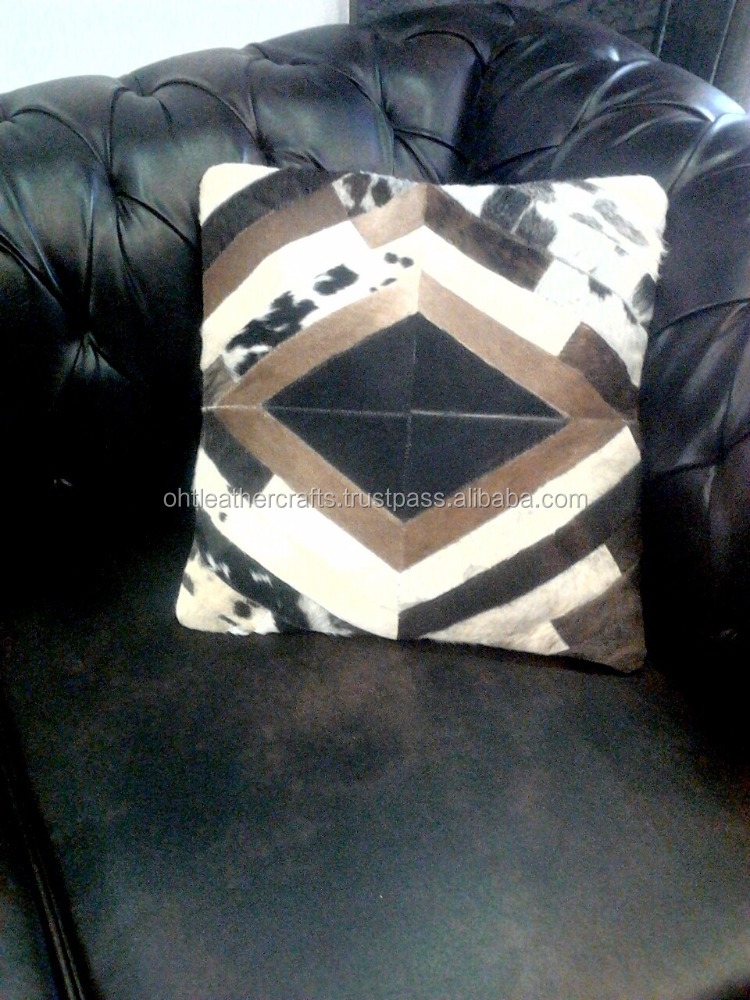 Cow Hair-on Leather Cushion for Sofa - Bed
