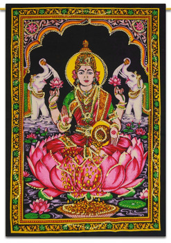 Goddess Lakshmi Hanging Indian Cotton Tapestry Poster Size Boho Decor Throw 28X22 Inches-TPS81A