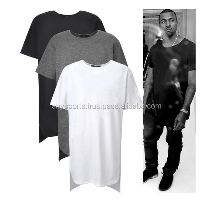 Mens Long Back Curved Hem Front New Style Tshirt/ Mens Hip Hop Tees Casual Wear/ Polyester Blend