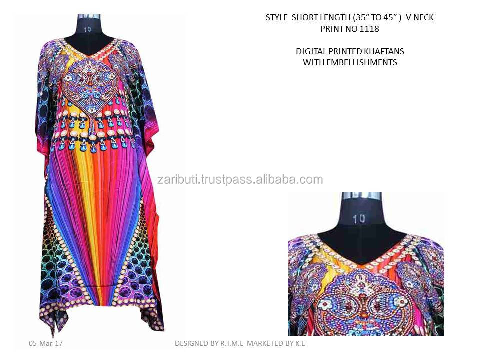 K.E-KFT-1118 Polyester Poly Fabric Digital Print Kaftan, V neck Indian Short Kaftan Beach Island Kaftan Dress