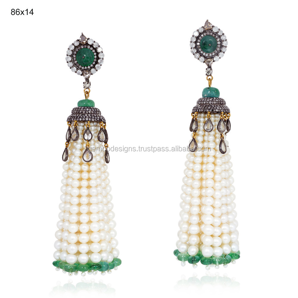 Freshwater Pearl & Emerald Tassel Earring Jewelry, 18k Yellow Gold Pave Diamond Gemstone Earring, 925 Silver Pearl Jewelry
