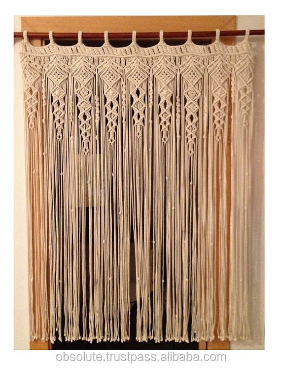 white macrame door window curtains