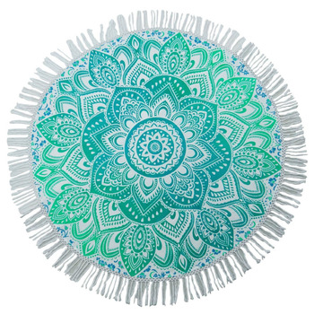 "Floral Indian Round Tapestry Table Cloth White Bedspread Beach Throw Yoga Mat 70"" Diameter TPR44B"