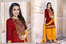 Karishma Kapoor Maroon Pure Cotton Cambric Patiala Dress Material