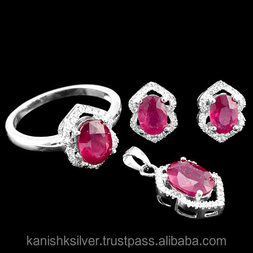 Genuine Natural Oval Faceted Cut Pink Red Ruby jewelry Sets,Cubic Zircon CZ 925 Silver Gemstone Jewelry Sets