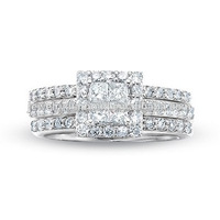 2 CT. T.W. Quad Princess-Cut Diamond Framed Three Piece Bridal Affordable Diamonds Rings Where To Buy Ring Jewelry
